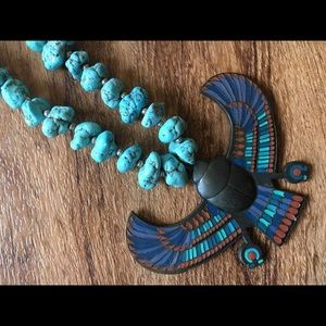 Jewelry - Vintage Egyptian Turquoise & Metal Necklace